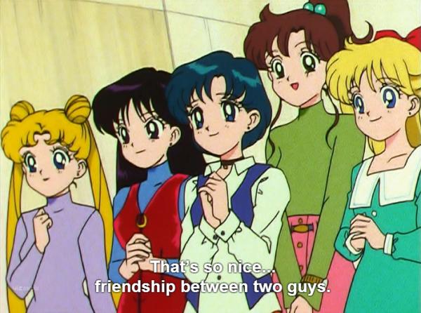 In anime-speak, that means she's already written three slashfics about them!