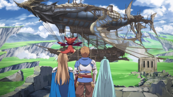 Granblue cast and airship