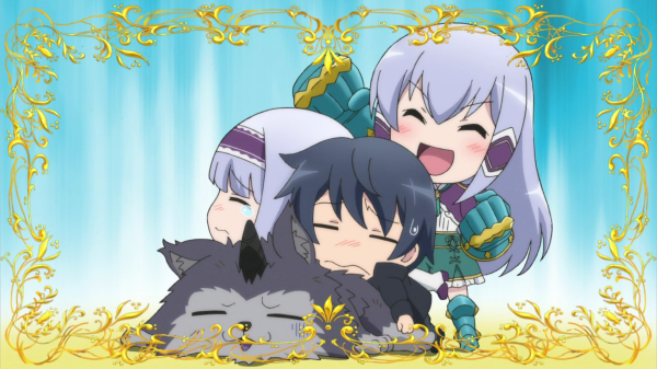 A chibi long-haired girl raises her in victory while a dark-haired boy and short-haired girl slump exhausted over an unconscious wolf-monster.