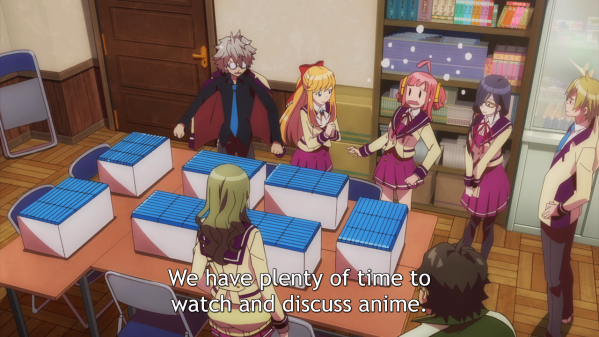 "Four girls and two boys in school uniforms stand around a table covered in boxes filled with what look like blu-ray cases. A pink-haired girl looks startled, while the other seem happy. Subtitle: ""We have plenty of time to watch and discuss anime."""