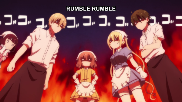 "Two young men in waiters' uniforms and two young women in maid skirts and aprons glare at each other with flames flaring up behind them. To the far left, another girl in a maid outfit watches them, fists clenched under her chin, looking puzzled. Sound effects on the screen read ""RUMBLE RUMBLE"""
