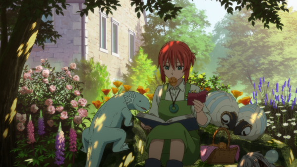A young woman sits in a flower garden, a cookie in her mouth and a book in her hands. She is surrounded by fantastical creatures, most prominently a blue salamander and a fluffy sheep-like animal.