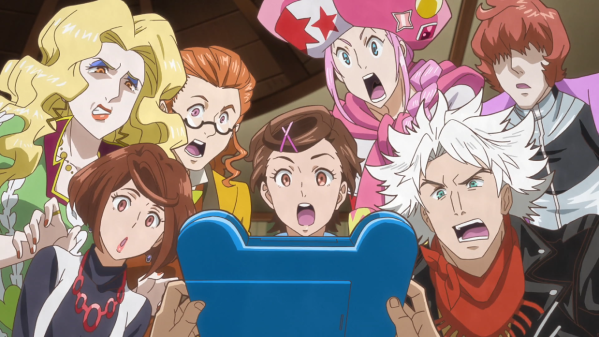 A group of seven people - two women, a girl, and four young men - gather around an iPad that's being held out by an off-screen character. They are all wearing shocked expressions.