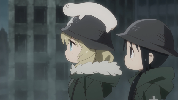 Two girls wearing military helmets and coats stand in profile, looking at something off-screen. The one with long, unboard hair has a white creature perched atop her helmet. The other girl sports pigtails.
