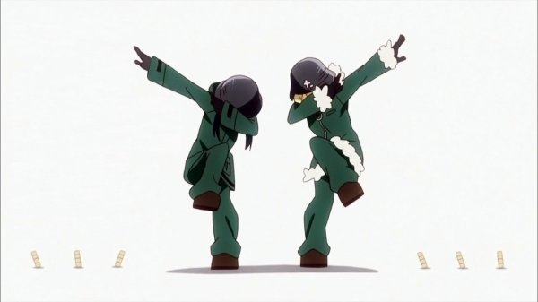 Two girls in winter coats and army helmets dab in front of a white background