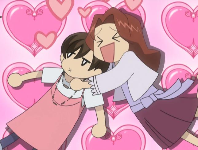 Ranka hugs Haruhi gleefully with hearts popping out around them. Haruhi looks annoyed.