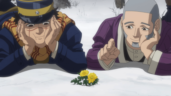 An image from Golden Kamuy. Sugimoto and Shiraishi lie on their stomachs, admiring a golden flower poking out of the snow. They are smiling cutely.