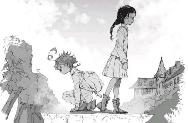 A sketch of two girls, Emma and Isabella. Emma is crouched and facing the left, looking determined. Isabella is standing and facing the right, looking sorrowful.