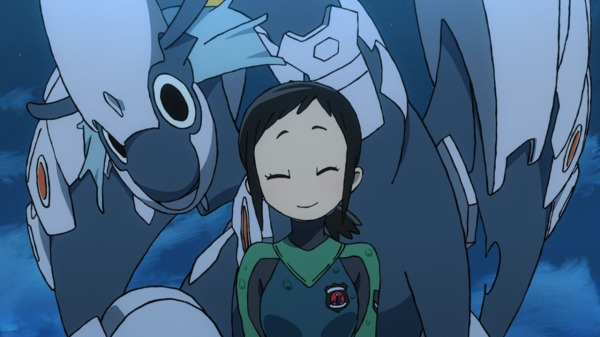 A young woman in a skintight suit stands in front of a dragon wearing arming, smiling.