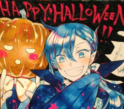 "A grinning vampire and a figure wearing a pumpkin on their head pose beneath the handwritten words ""Happy Halloween!!"""