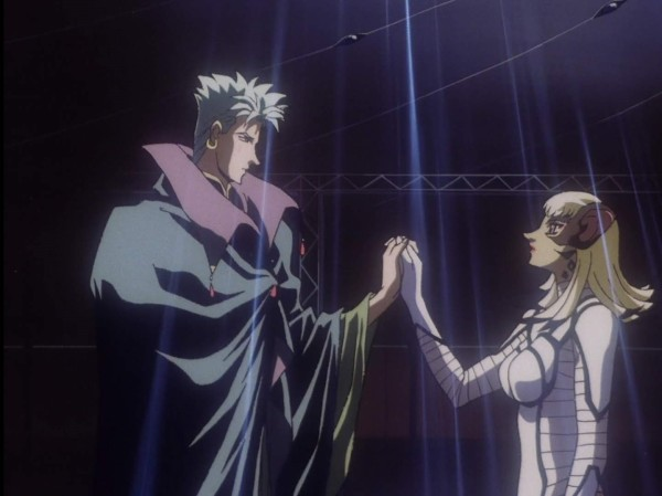 Folken and Naria hold hands in a darkened room, as if taking part in a dance