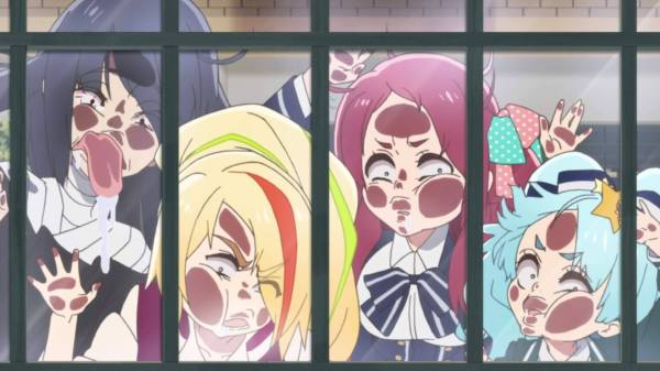 Four members of Franchouchou smash their faces up against a window, peering in