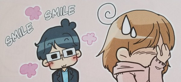 "Manga image of a girl face-palming and sweatdropping while a boy in glasses looks at her and blushes, the word ""Smile smile"" bursting out around him"