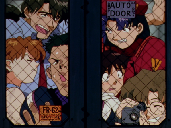 The Evangelion cast crowds into a elevator, smashed up against each other