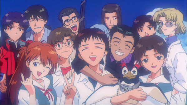 The extended cast of Evangelion posing for the camera, looking happy and smiling